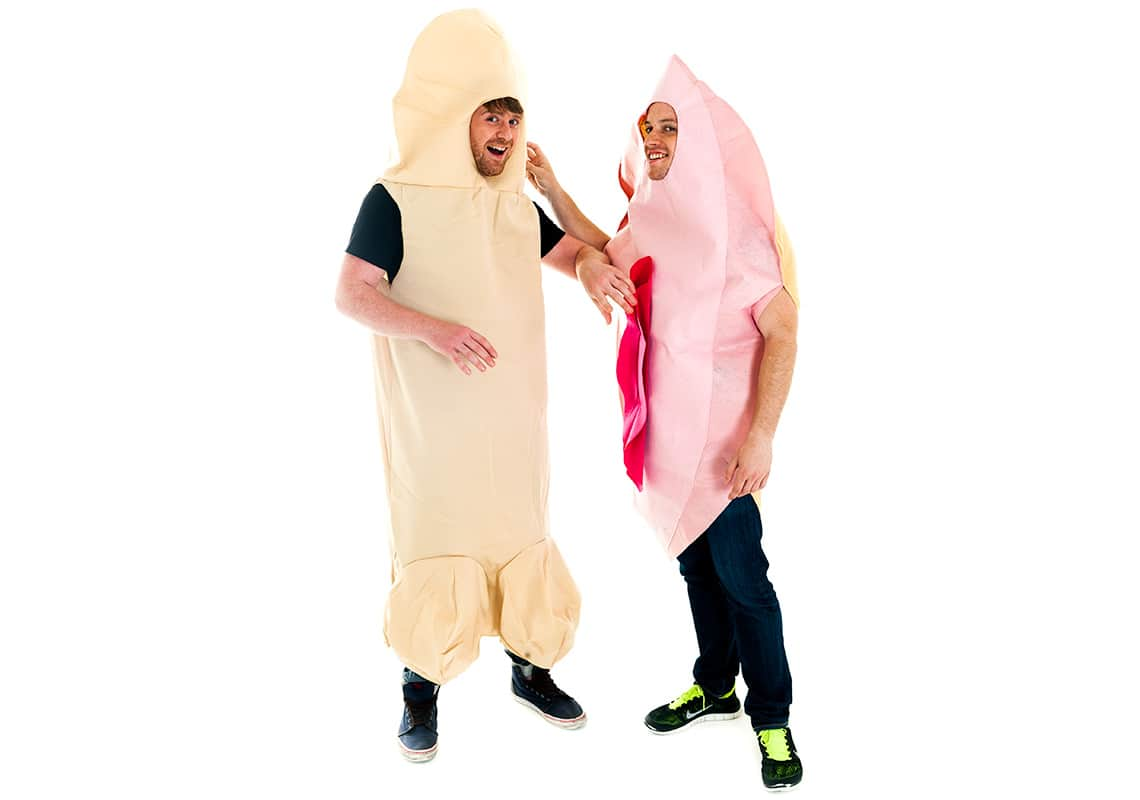 two men wearing massive penis and vagina costumes
