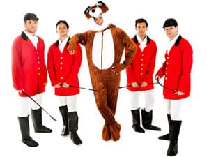 Four men in hunter costumes and a man in a fox costume