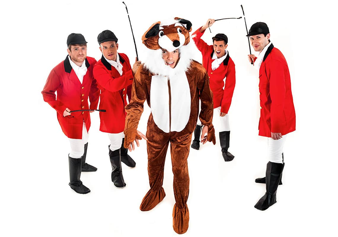 a stag group dressed as four huntsmen and one giant fox