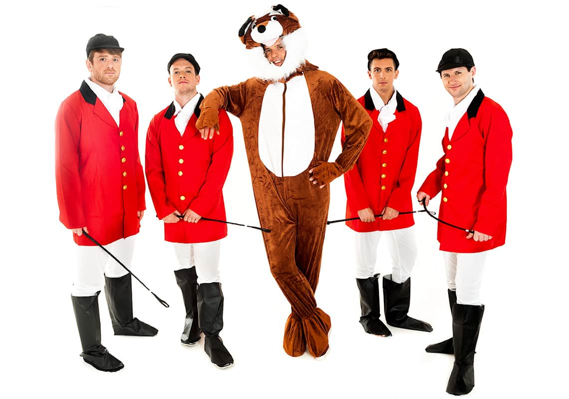 a man dressed as a fox, casually leaning on one of four men in hunter costumes