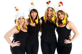 five women wearing silly chicken hats