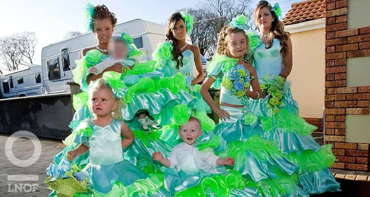 Young bridesmaids in fluorescent green and blue shiny dresses