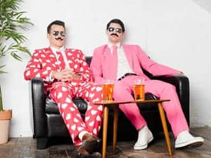 Two men in Opposuits wearing moustaches