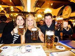 LNOF staff drinking steins of beer
