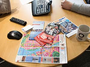 Maps on office desk