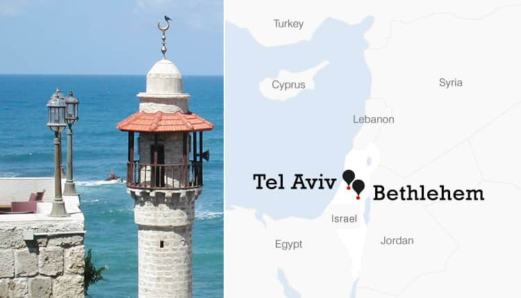 Image of Tel Aviv coastline with boat in the distance and map of Israel with Tel Aviv and Bethlehem pinned.