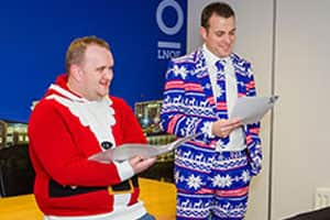 MD Matt Mavir gets involved in his Christmas opposuit
