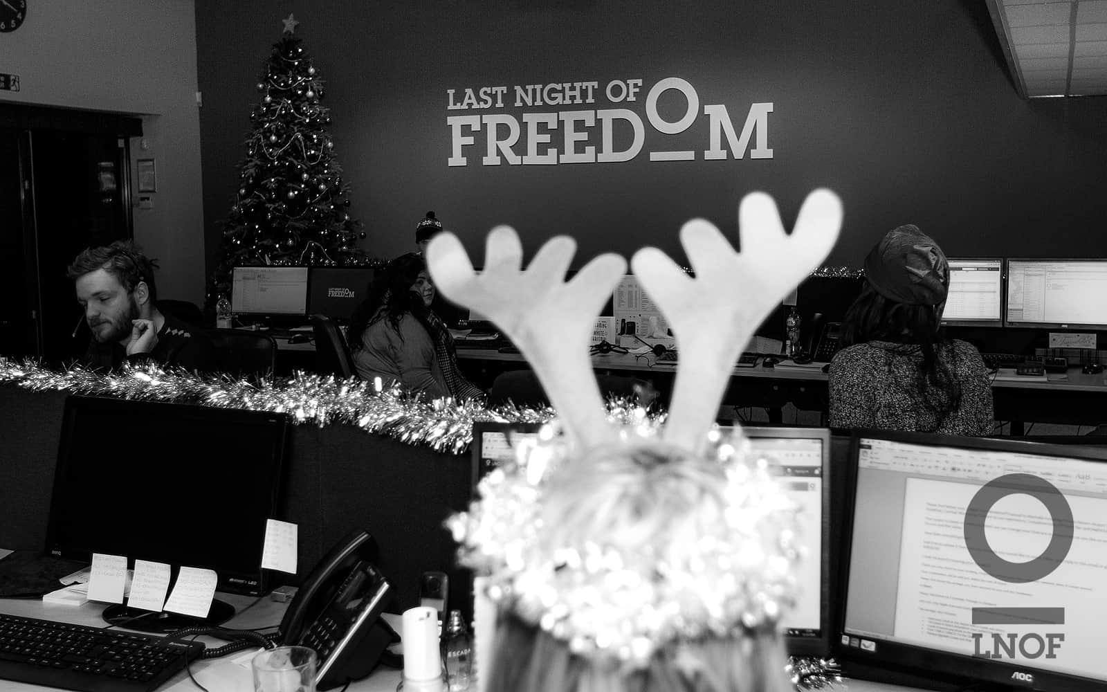 Sales team member wearing Reindeer antlers