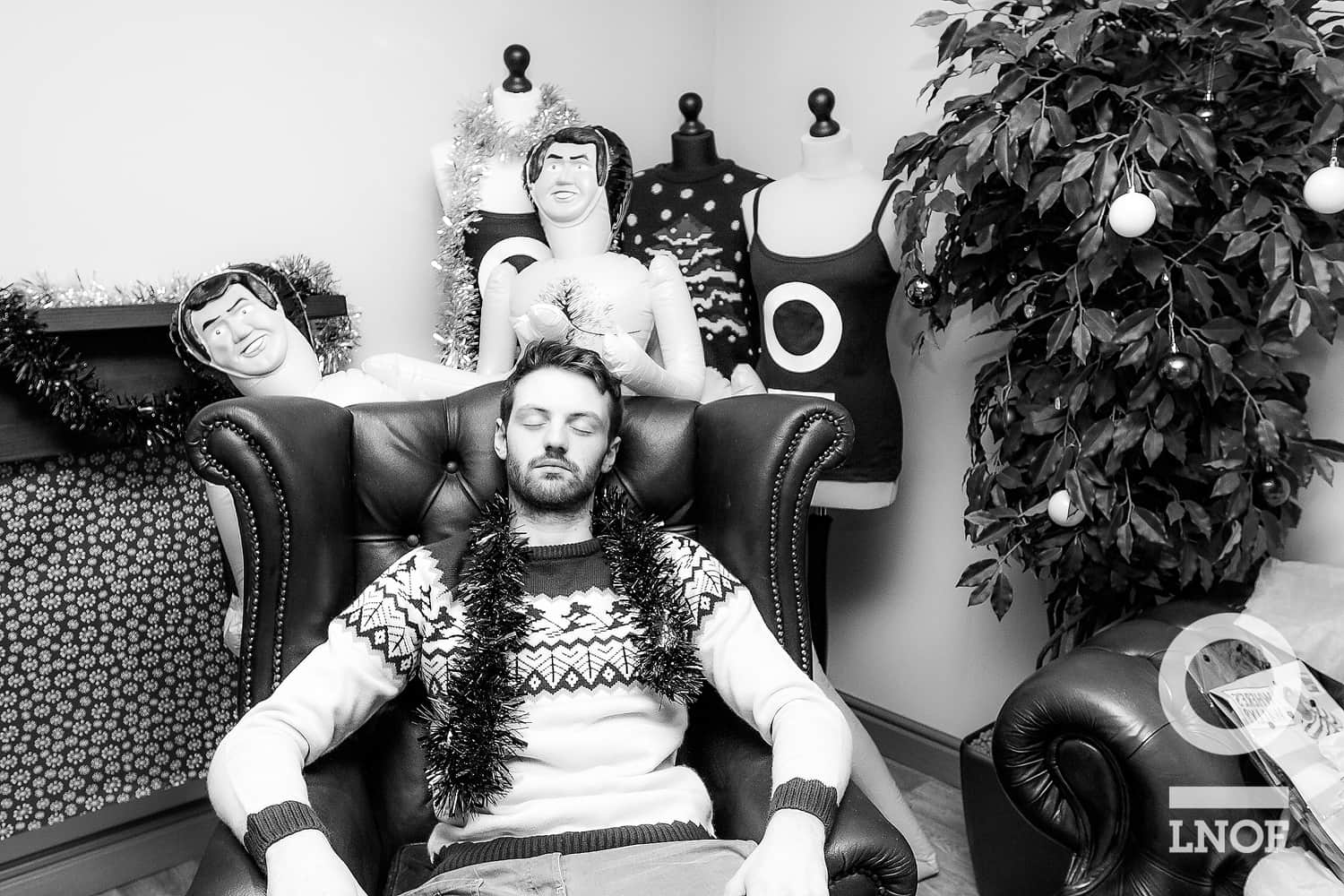 James, part of our digital team, has a nap after recording all the scenes for our 12 days of Christmas video