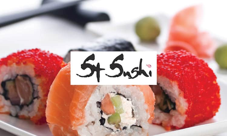 St Sushi maki rolls and logo