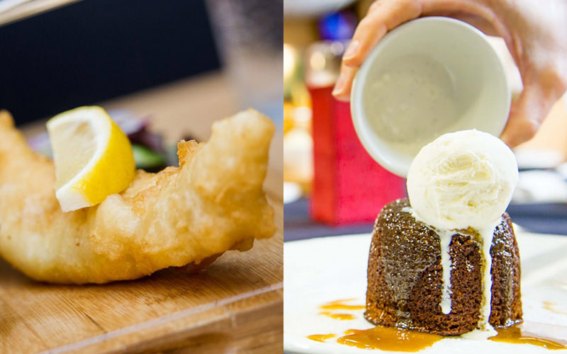 Split image of fish and chips on a wooden board, and a pudding being poured out of a white cup