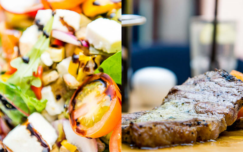 Split image of a salad and a steak on a wooden board