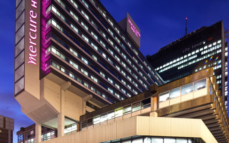 The exterior of the Mercure Manchester Piccadilly at night