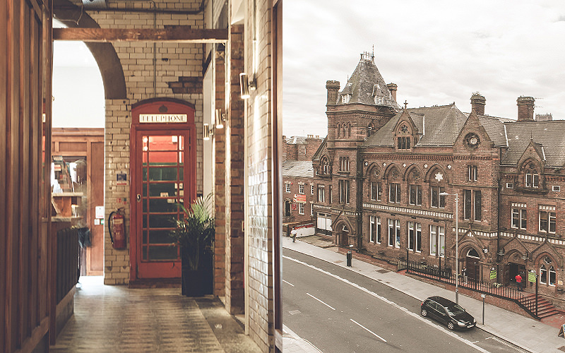Split image of a red phone box in the Hatters Hostel lobby, and a view looking out onto the street from one of the hostel rooms