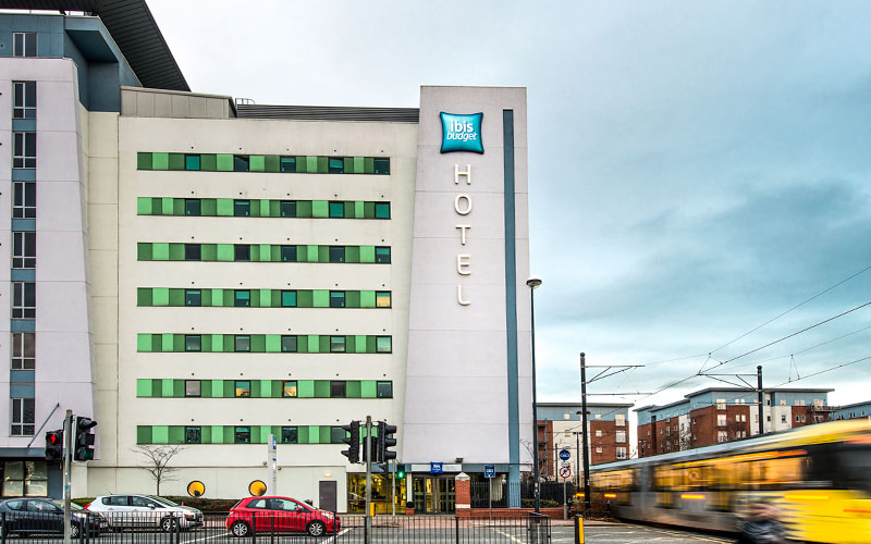 The exterior of the IBIS, Manchester, during the day