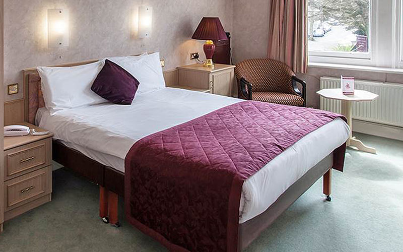 The interiors of a hotel room in The Heathlands Hotel