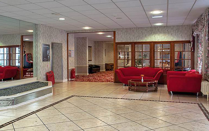 The reception lobby area of The Heathlands Hotel
