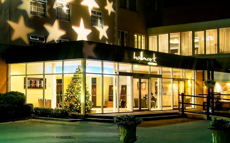 Stars lit up on the exterior of the Hallmark Hotel, Liverpool, at night