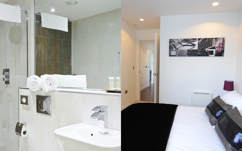 Split image of a bathroom and a double bed in a hotel room