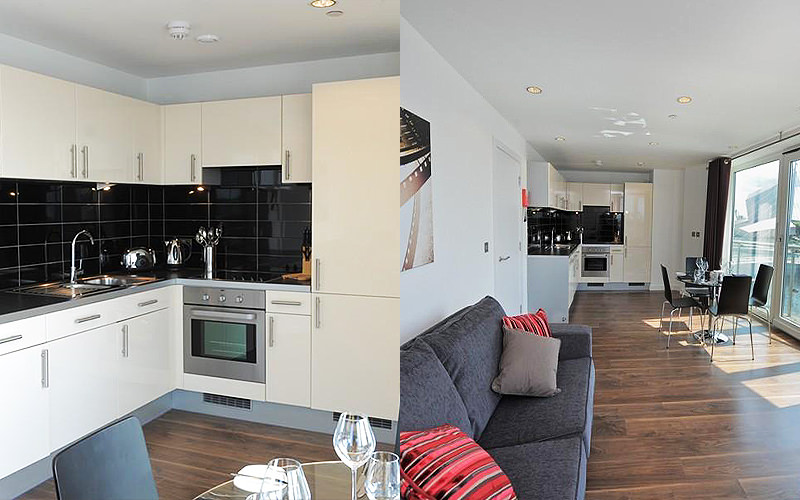 Split image of a kitchen and a sofa in an open plan living and kitchen area