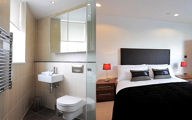 Split image of a bathroom, and a double bed with a black throw and cushions on top