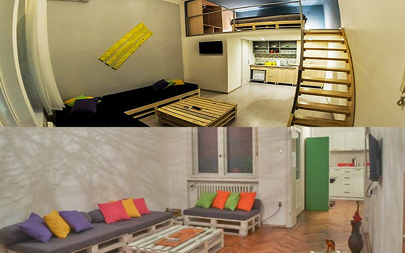 A split image of the interiors of some apartments in Belgrade