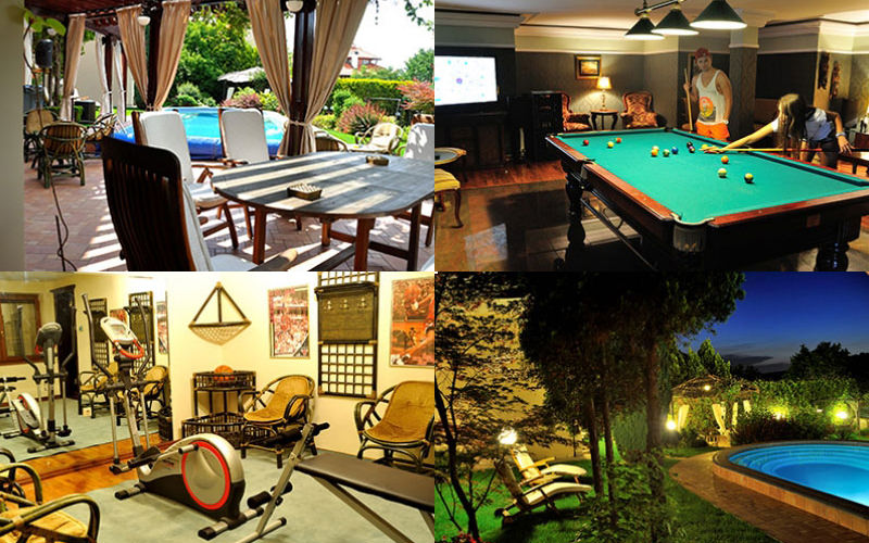 Four images - featuring people playing billiards, an outdoor terrace, an indoor gym and an outdoor pool at night