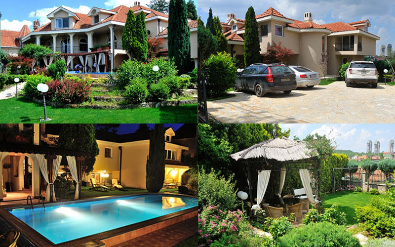 Four images - featuring a luxury villa exterior shot in the day, cars parked outside the villa, an outdoor pool at night, and a dining area in the garden