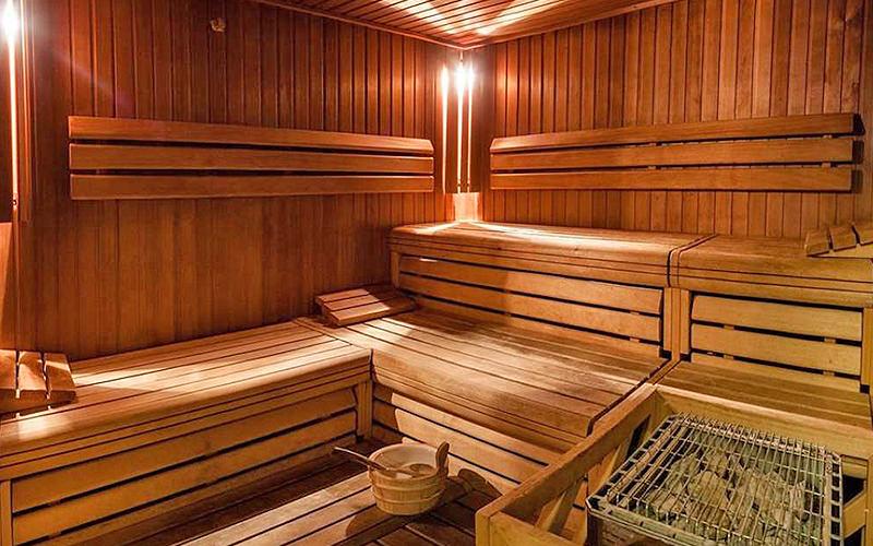 The interiors of a sauna