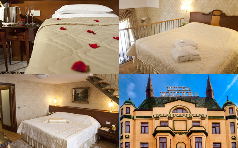 A tiled image of three types of bedroom and the exterior of Hotel Moskva