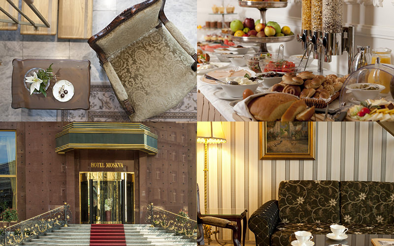 A tiled image of different rooms within Hotel Moskva, including the breakfast bar and the exterior of Hotel Moskva