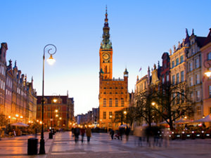 Old town in Gdansk at dusk