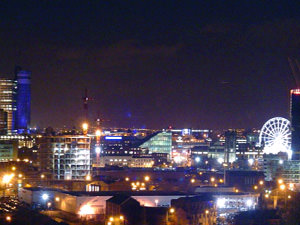 Manchester all lit up at night