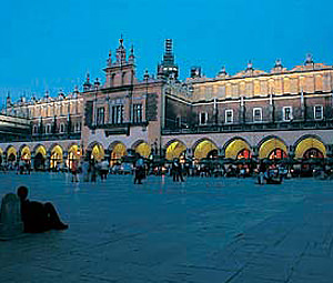 A night-time glimpse of Krakow Market Square