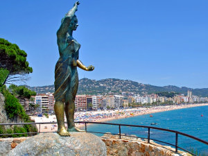 A shot of Lloret from the view of a statue