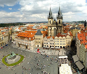 A shot of the famous Old Town Square in Prague