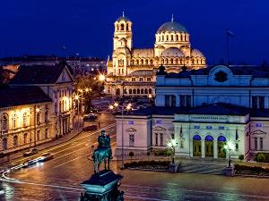 Sofia's iconic landmarks lit up at night