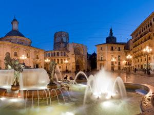 Valencia illuminated fountain plaza