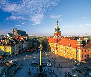 An aerial shot of the Old Town Square in Warsaw