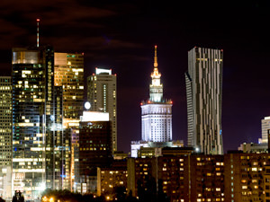 Night view of Warsaw city