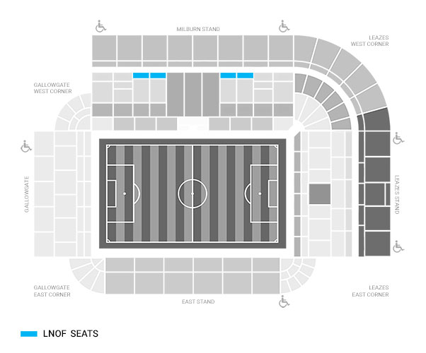 Floor seating plan for newcastle stadium, highlighting LNOF's ticket seats