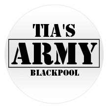 Army personalised badge with black text