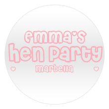 White round badge, with Emma's hen party Marbella text in light pink