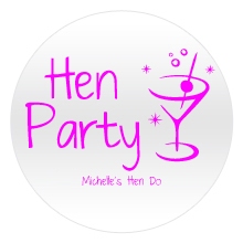 Pink hen party text appearing on a white round badge