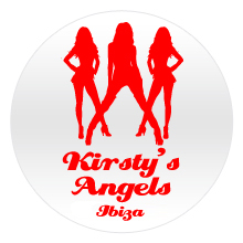 3 red women silhouettes with red text, personalised on a white badge