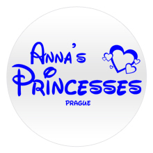 Blue text, in a princess style, on a white personalised badge