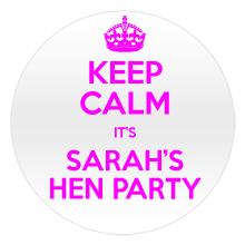 Keep calm hen party badge with light pink text