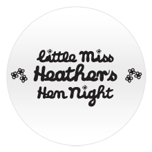 Little Miss hen night badge with black text