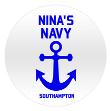 Blue Navy text and anchor on a white badge
