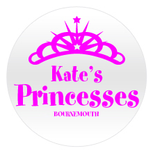 Princess Crown badge, with crown and pink text on white badge